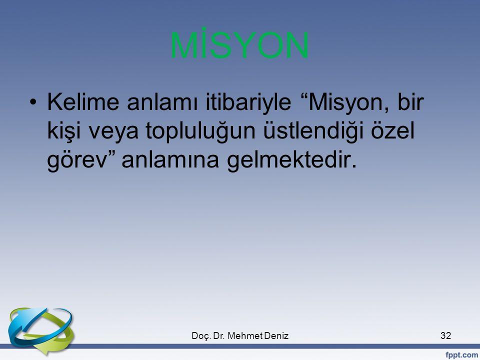"""MİSYON •Kelime anlamı itibariyle """"Misyon, bir kişi veya topluluğun üstlendiği özel görev"""" anlamına gelmektedir. 32Doç. Dr. Mehmet Deniz"""