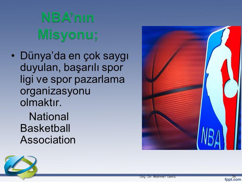 •Dünya'da en çok saygı duyulan, başarılı spor ligi ve spor pazarlama organizasyonu olmaktır. National Basketball Association Doç. Dr. Mehmet Deniz36