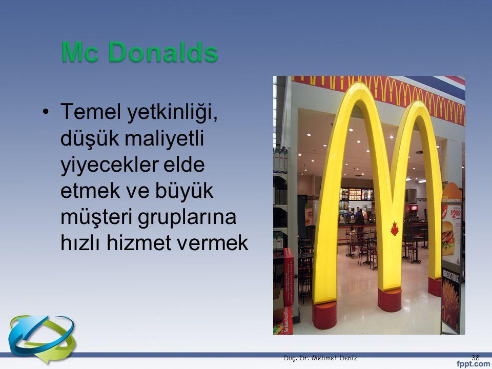 •Temel yetkinliği, düşük maliyetli yiyecekler elde etmek ve büyük müşteri gruplarına hızlı hizmet vermek Doç. Dr. Mehmet Deniz38