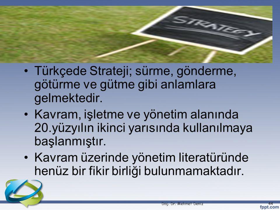•Türkçede Strateji; sürme, gönderme, götürme ve gütme gibi anlamlara gelmektedir. •Kavram, işletme ve yönetim alanında 20.yüzyılın ikinci yarısında ku