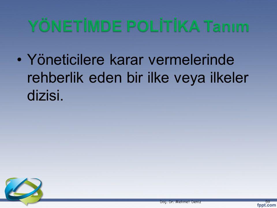 •Yöneticilere karar vermelerinde rehberlik eden bir ilke veya ilkeler dizisi. Doç. Dr. Mehmet Deniz59