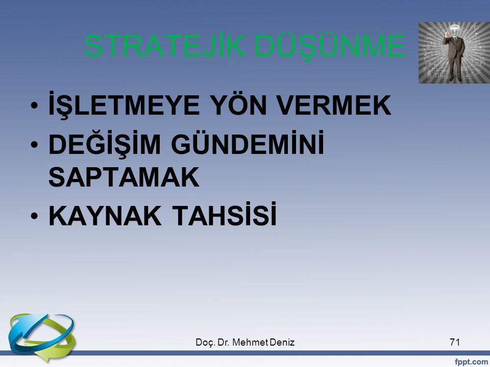STRATEJİK DÜŞÜNME •İŞLETMEYE YÖN VERMEK •DEĞİŞİM GÜNDEMİNİ SAPTAMAK •KAYNAK TAHSİSİ 71Doç. Dr. Mehmet Deniz