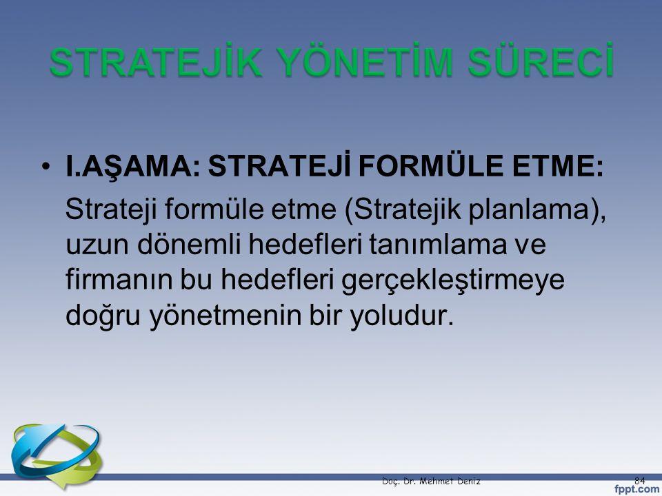 •I.AŞAMA: STRATEJİ FORMÜLE ETME: Strateji formüle etme (Stratejik planlama), uzun dönemli hedefleri tanımlama ve firmanın bu hedefleri gerçekleştirmey