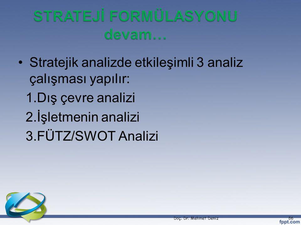 •Stratejik analizde etkileşimli 3 analiz çalışması yapılır: 1.Dış çevre analizi 2.İşletmenin analizi 3.FÜTZ/SWOT Analizi Doç. Dr. Mehmet Deniz86