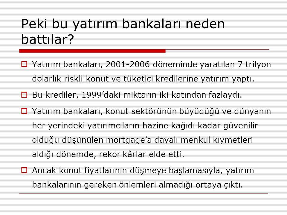  Yatırım bankaları, 2001-2006 döneminde yaratılan 7 trilyon dolarlık riskli konut ve tüketici kredilerine yatırım yaptı.  Bu krediler, 1999'daki mik