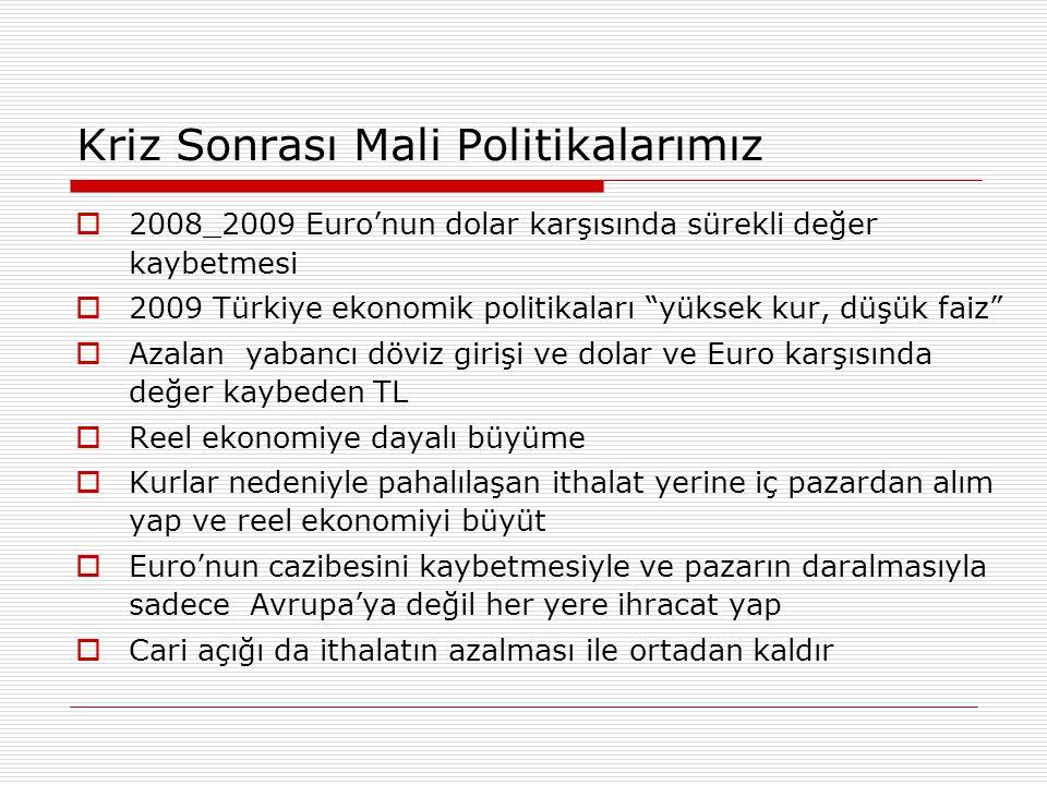 """Kriz Sonrası Mali Politikalarımız  2008_2009 Euro'nun dolar karşısında sürekli değer kaybetmesi  2009 Türkiye ekonomik politikaları """"yüksek kur, düş"""