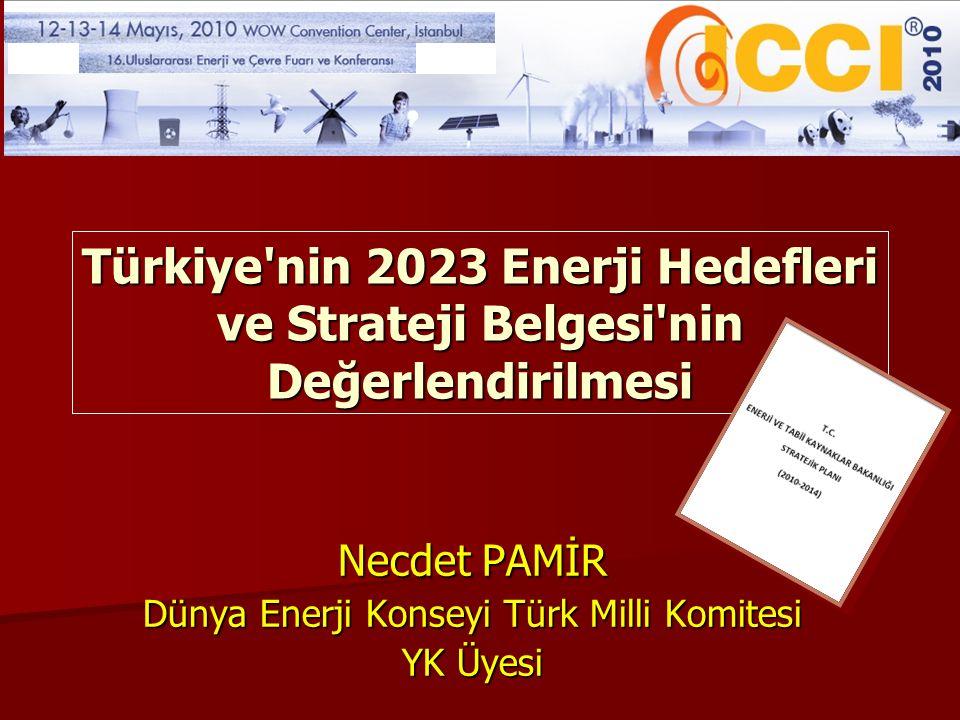Türkiye'nin 2023 Enerji Hedefleri ve Strateji Belgesi'nin Değerlendirilmesi Necdet PAMİR Dünya Enerji Konseyi Türk Milli Komitesi YK Üyesi