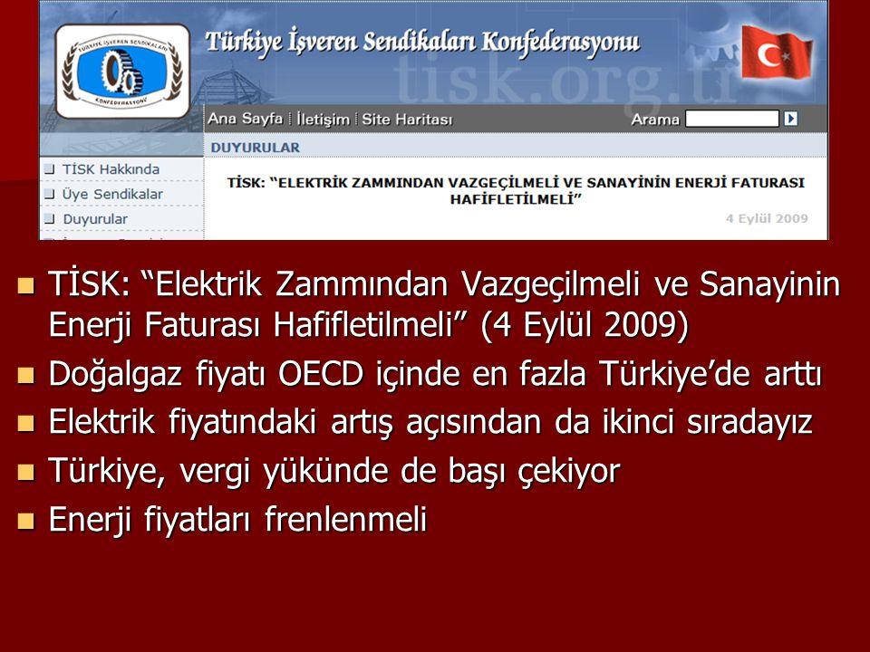 """ TİSK: """"Elektrik Zammından Vazgeçilmeli ve Sanayinin Enerji Faturası Hafifletilmeli"""" (4 Eylül 2009)  Doğalgaz fiyatı OECD içinde en fazla Türkiye'de"""