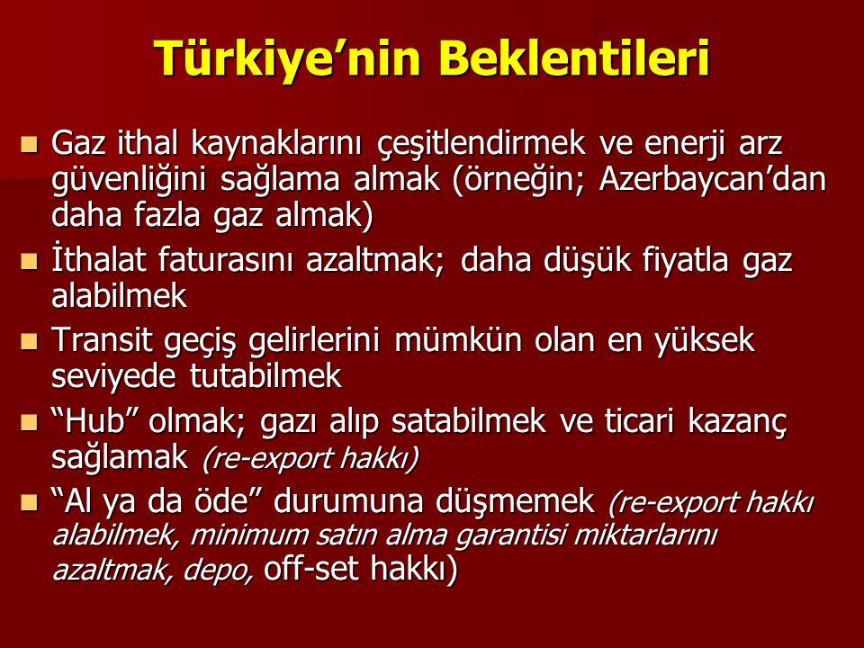 Türkiye'nin Beklentileri  Gaz ithal kaynaklarını çeşitlendirmek ve enerji arz güvenliğini sağlama almak (örneğin; Azerbaycan'dan daha fazla gaz almak