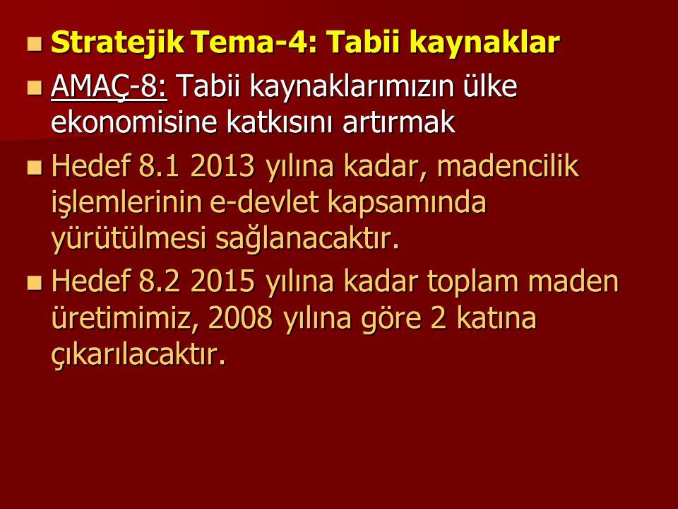  Stratejik Tema-4: Tabii kaynaklar  AMAÇ-8: Tabii kaynaklarımızın ülke ekonomisine katkısını artırmak  Hedef 8.1 2013 yılına kadar, madencilik işle