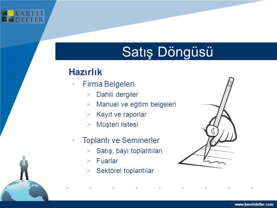 www.company.com Satış Döngüsü Company LOGO www.karelidefter.com Hazırlık •Firma Belgeleri  Dahili dergiler  Manuel ve eğitim belgeleri  Kayıt ve ra