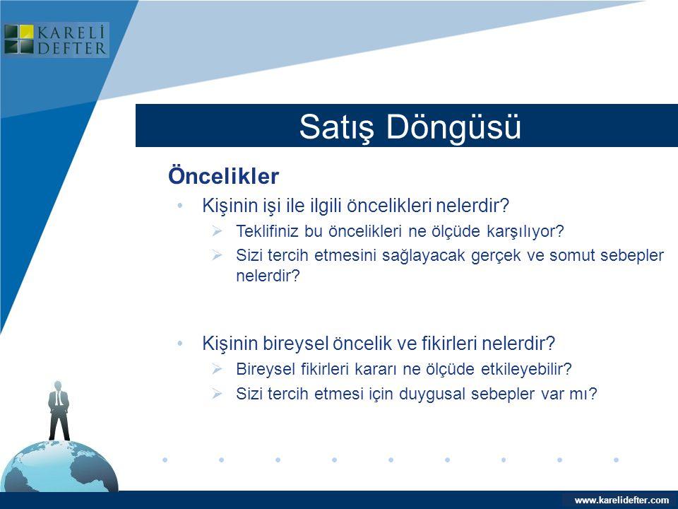 www.company.com Satış Döngüsü Company LOGO www.karelidefter.com Öncelikler •Kişinin işi ile ilgili öncelikleri nelerdir?  Teklifiniz bu öncelikleri n