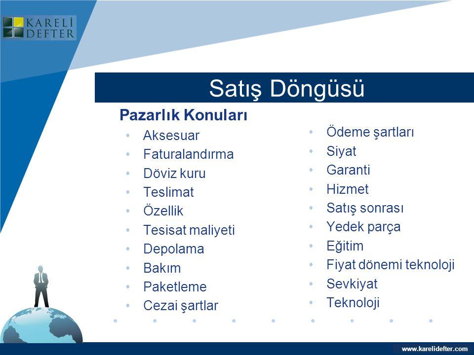 www.company.com Satış Döngüsü Company LOGO www.karelidefter.com Pazarlık Konuları •Aksesuar •Faturalandırma •Döviz kuru •Teslimat •Özellik •Tesisat ma