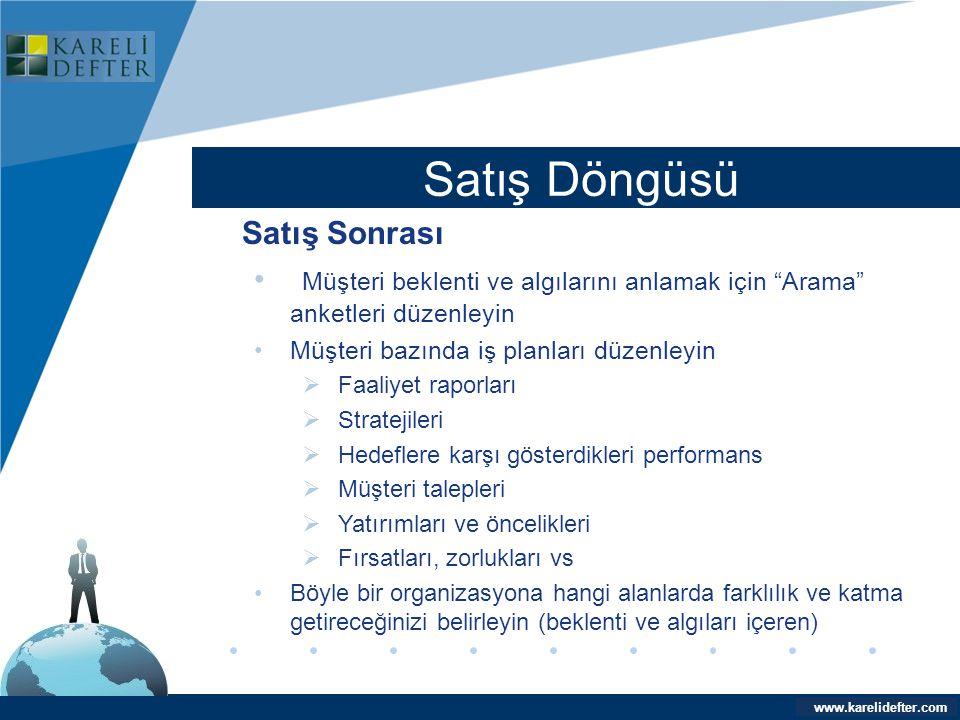 """www.company.com Satış Döngüsü Company LOGO www.karelidefter.com Satış Sonrası • Müşteri beklenti ve algılarını anlamak için """"Arama"""" anketleri düzenley"""