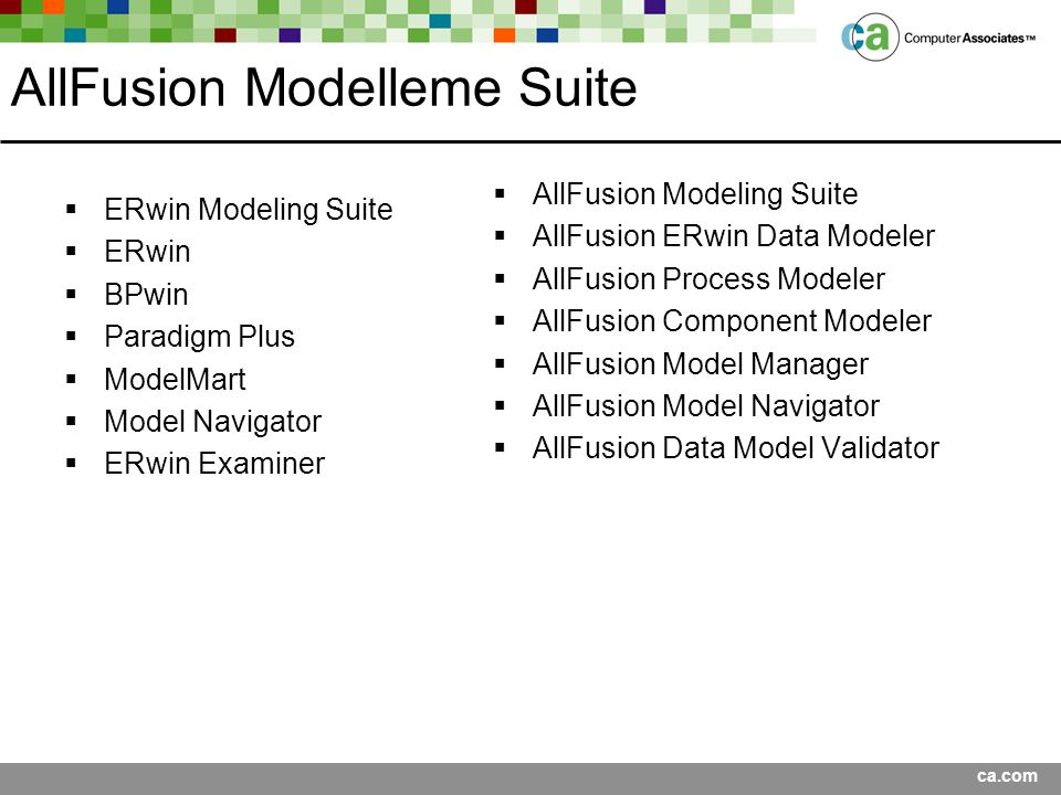 ca.com AllFusion Modelleme Suite  ERwin Modeling Suite  ERwin  BPwin  Paradigm Plus  ModelMart  Model Navigator  ERwin Examiner  AllFusion Mod