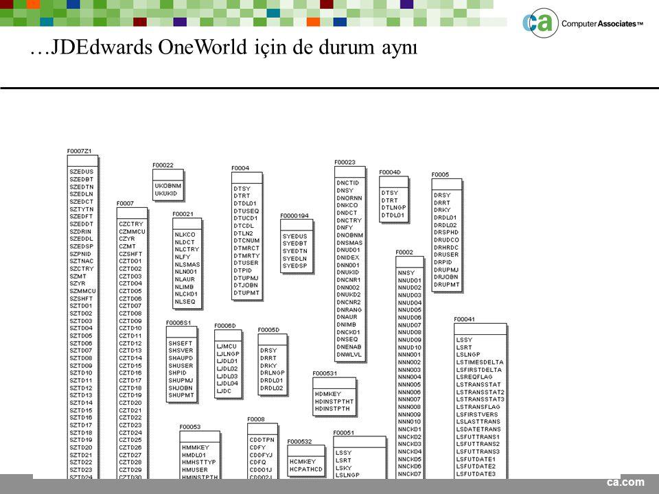ca.com …JDEdwards OneWorld için de durum aynı