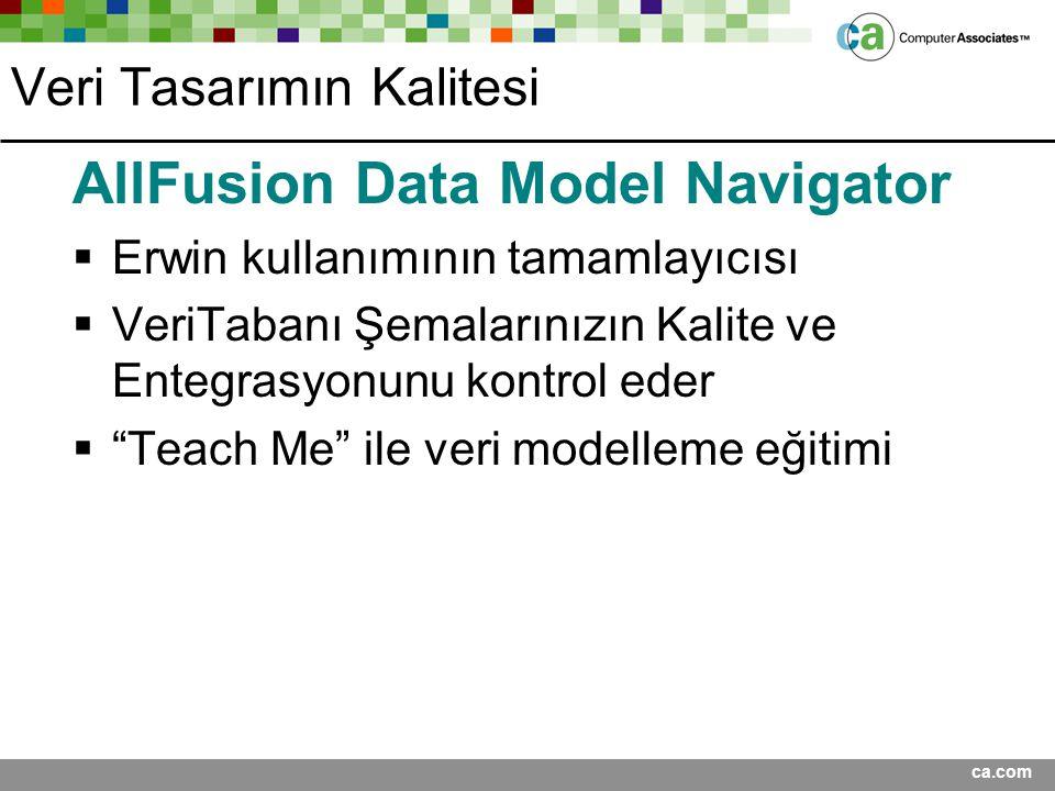 ca.com Veri Tasarımın Kalitesi AllFusion Data Model Navigator  Erwin kullanımının tamamlayıcısı  VeriTabanı Şemalarınızın Kalite ve Entegrasyonunu k