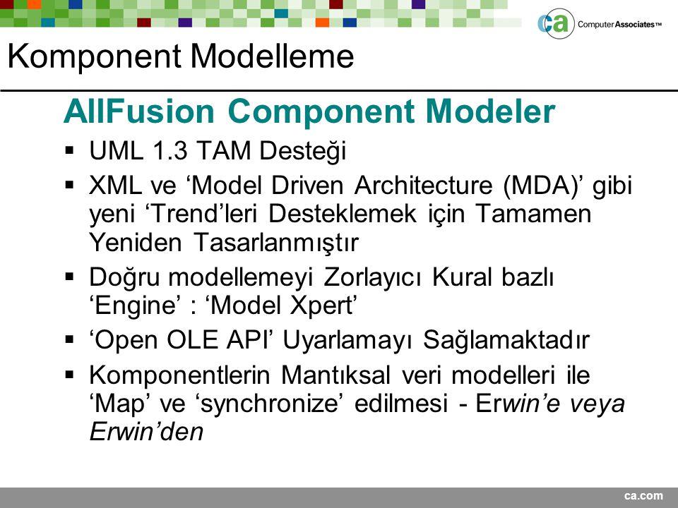 ca.com Komponent Modelleme AllFusion Component Modeler  UML 1.3 TAM Desteği  XML ve 'Model Driven Architecture (MDA)' gibi yeni 'Trend'leri Destekle