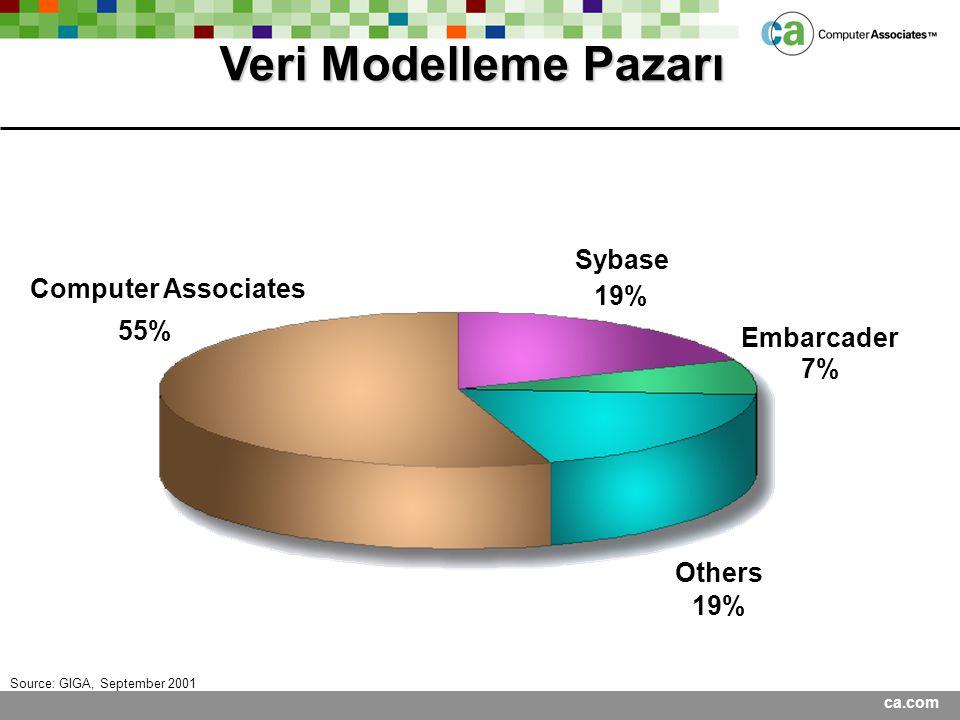 ca.com Veri Modelleme Pazarı 55% 19% 7% 19% Sybase Embarcader Others Computer Associates Source: GIGA, September 2001
