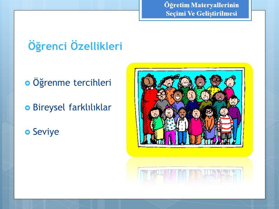 Öğretim Ortamı  Ortamın özellikleri (büyüklüğü, niteliği, ışıklandırma)  Sınıf  Laboratuvar  Alan Gezisi vb.