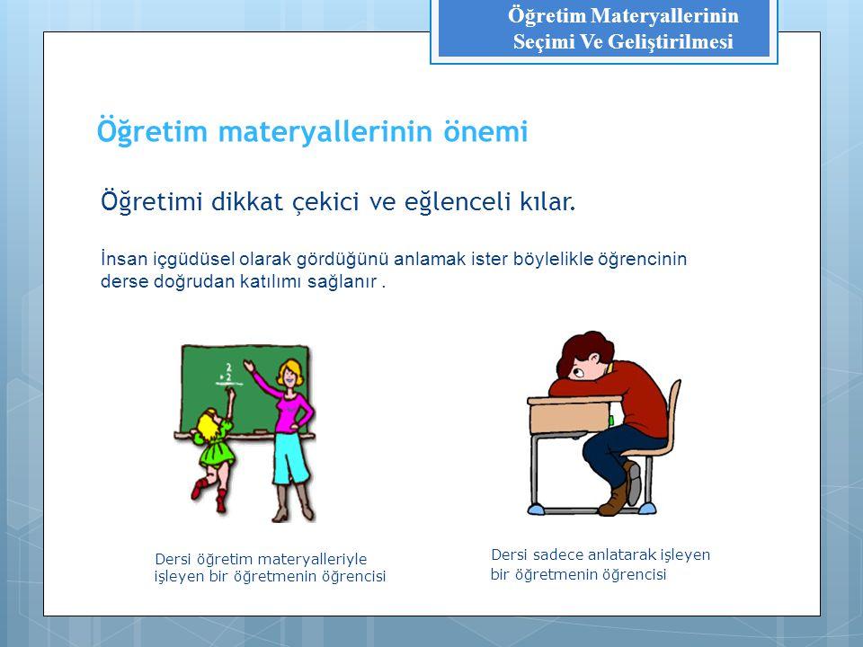 Öğretim materyallerinin önemi Öğretmenin işini kolaylaştırır.