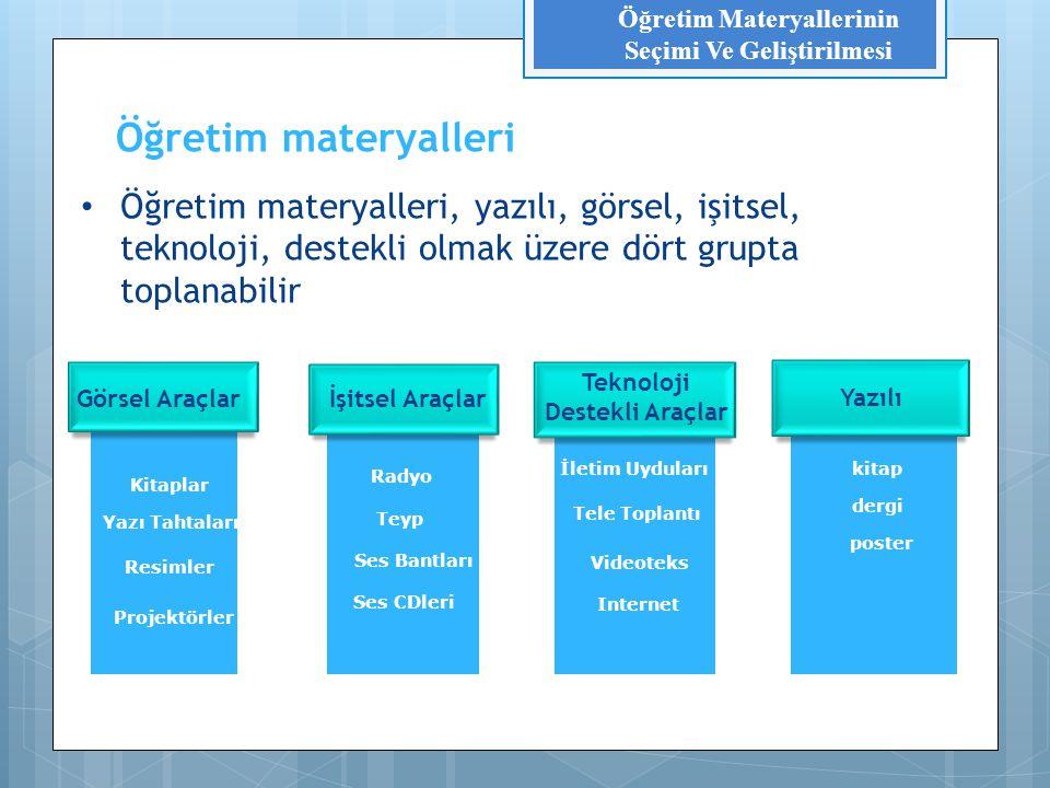 Dağıtım sistemleri Mesajın içeriği Mesajın biçimi Materyaller Öğretim Materyallerinin Seçimi Ve Geliştirilmesi Öğretim materyallerinin öğeleri