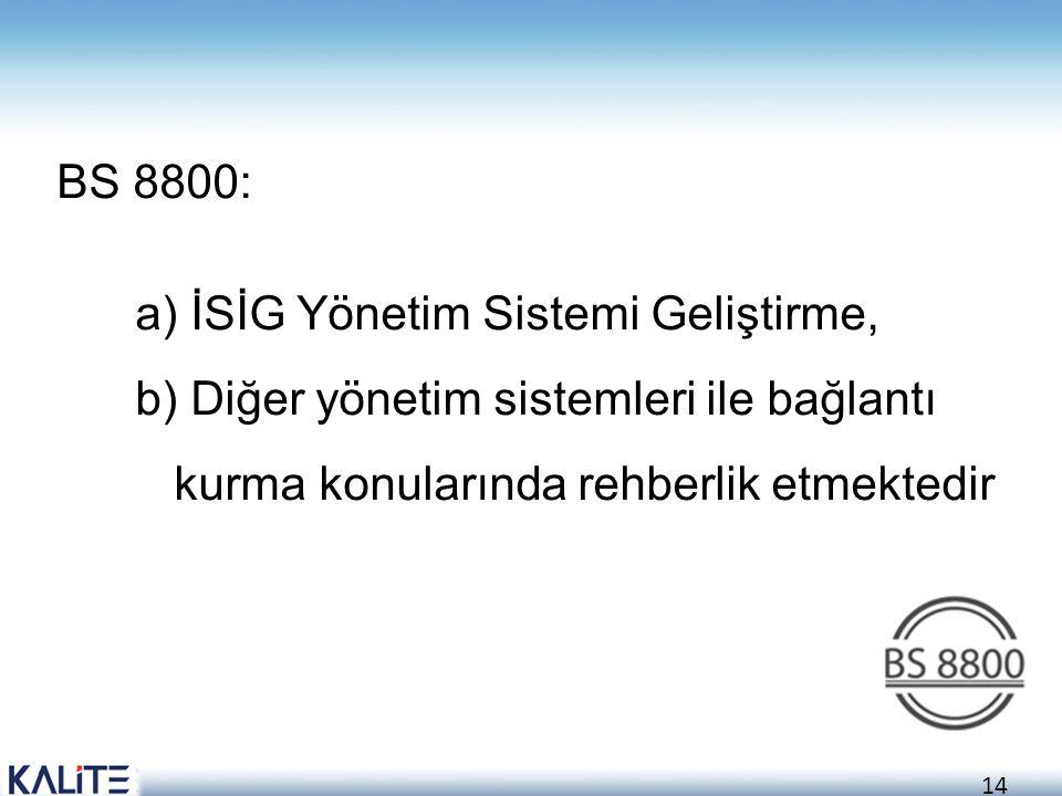 14 BS 8800: a) İSİG Yönetim Sistemi Geliştirme, b) Diğer yönetim sistemleri ile bağlantı kurma konularında rehberlik etmektedir