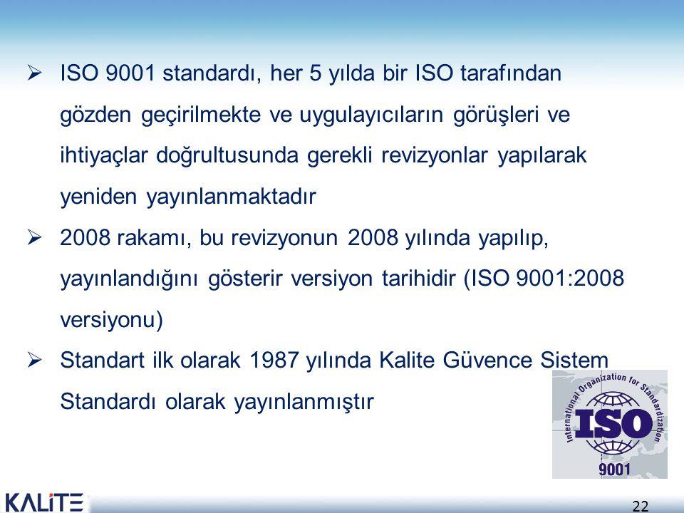 23 TS-EN- ISO 9001 Kalite Yönetim Standardıdır.