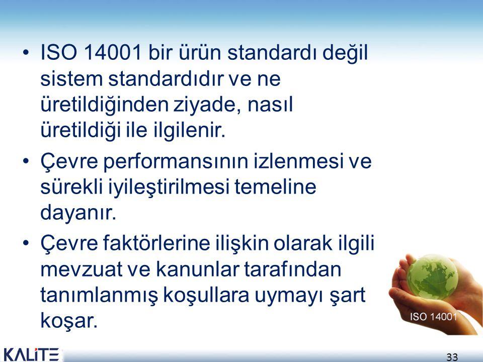 34 ISO 14001 Standart Prensipleri Gözden Geçirme ve Geliştirme: Kontrol ve Düzeltici Faaliyet: Uygulama ve İşlem: Yükümlülük Altına Girme ve Politika Planlama: Kuruluş çevre politikasını tayin etmeli ve çevre yönetim sistemine bağlılık taahhüdünde bulunmalıdır.