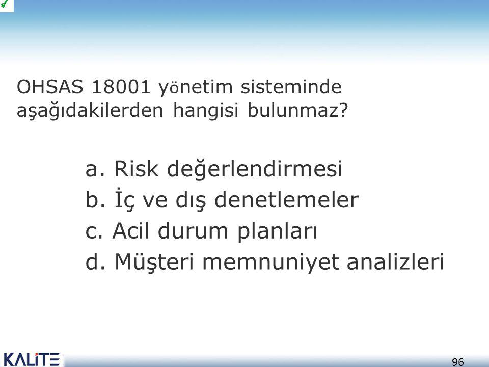 97 a.Risk değerlendirmesi b. İç ve dış denetlemeler c.