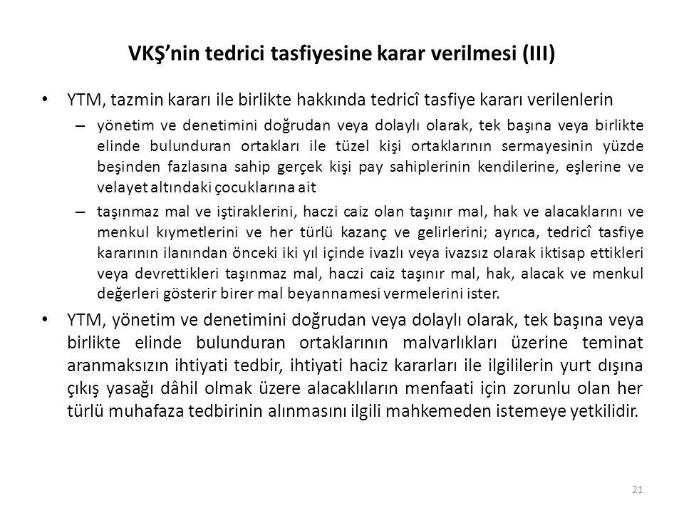 VKŞ'nin tedrici tasfiyesine karar verilmesi (III) • YTM, tazmin kararı ile birlikte hakkında tedricî tasfiye kararı verilenlerin – yönetim ve denetimi