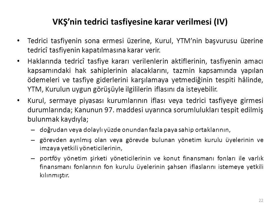 VKŞ'nin tedrici tasfiyesine karar verilmesi (IV) • Tedrici tasfiyenin sona ermesi üzerine, Kurul, YTM'nin başvurusu üzerine tedricî tasfiyenin kapatılmasına karar verir.