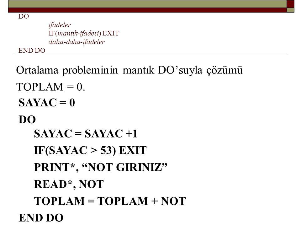 CYCLE Bir şart yerine geldiği zaman döngünün o tekrarı yapılmaz: 1'den N'e kadar sayıları toplama: DO I = 1, N TOPLAM = TOPLAM + I END DO DO I = I +1 IF(I>N) EXIT TOPLAM = TOPLAM + I END DO DO I = I +1 IF(I>N) EXIT IF(I/2*2.EQ.