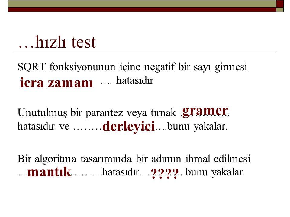 …hızlı test SAYI tam sayı ise aşağıdaki program parçası nasıl bir çıktı verir.