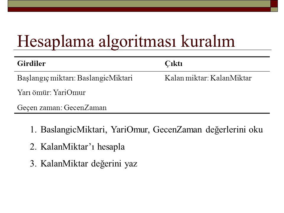 Algoritma… 1.BaslangicMiktari, YariOmur, GecenZaman değerlerini al 2.KalanMiktar'ı hesapla 3.KalanMiktar değerini yaz Nasıl.