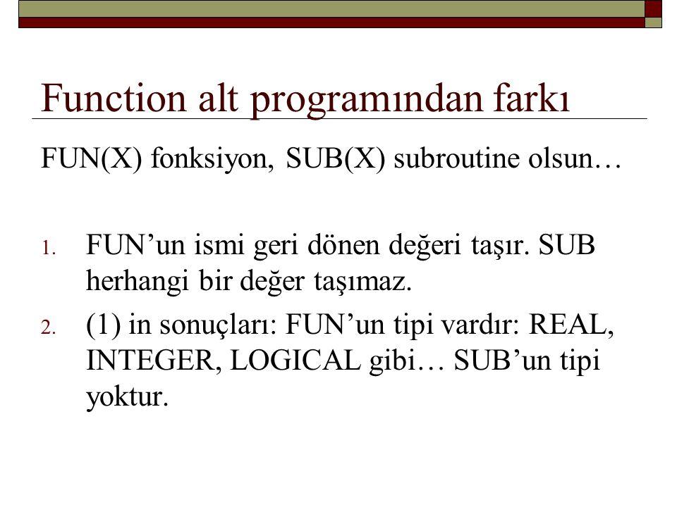 Function alt programından farkı FUN(X) fonksiyon, SUB(X) subroutine olsun… Programda kullanılış:...… SONUC = ALFA/FUN(X)............
