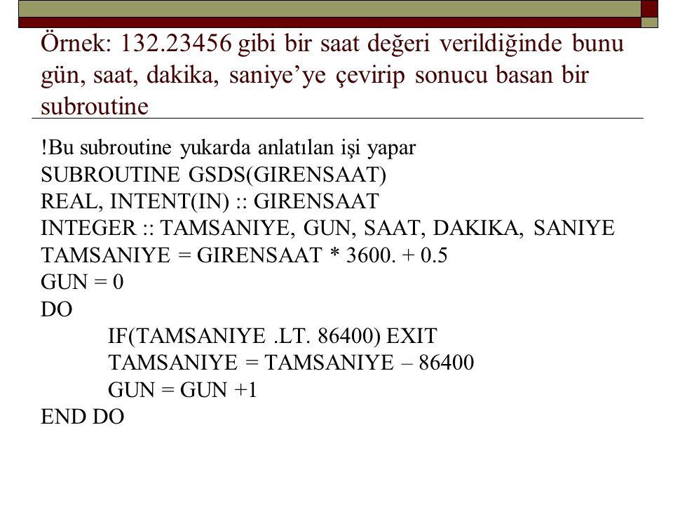 REAL, INTENT(IN) :: GIRENSAAT INTEGER :: TAMSANIYE, GUN, SAAT, DAKIKA, SANIYE GUN = 0 DO IF(TAMSANIYE.LT.