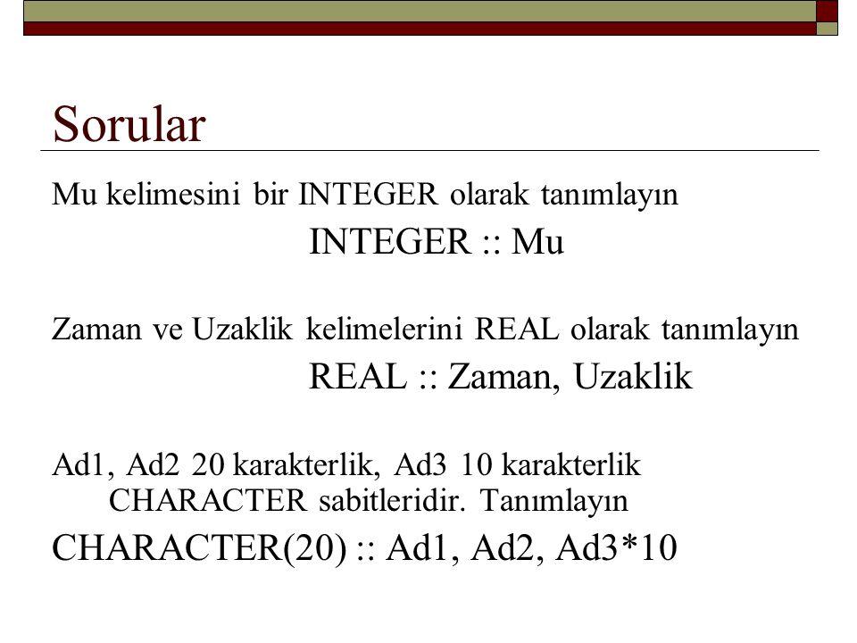 Sorular Limit1, Limit2, Limit3, başlangıç değerleri 10, 20, 30 olan tam sayılardır.
