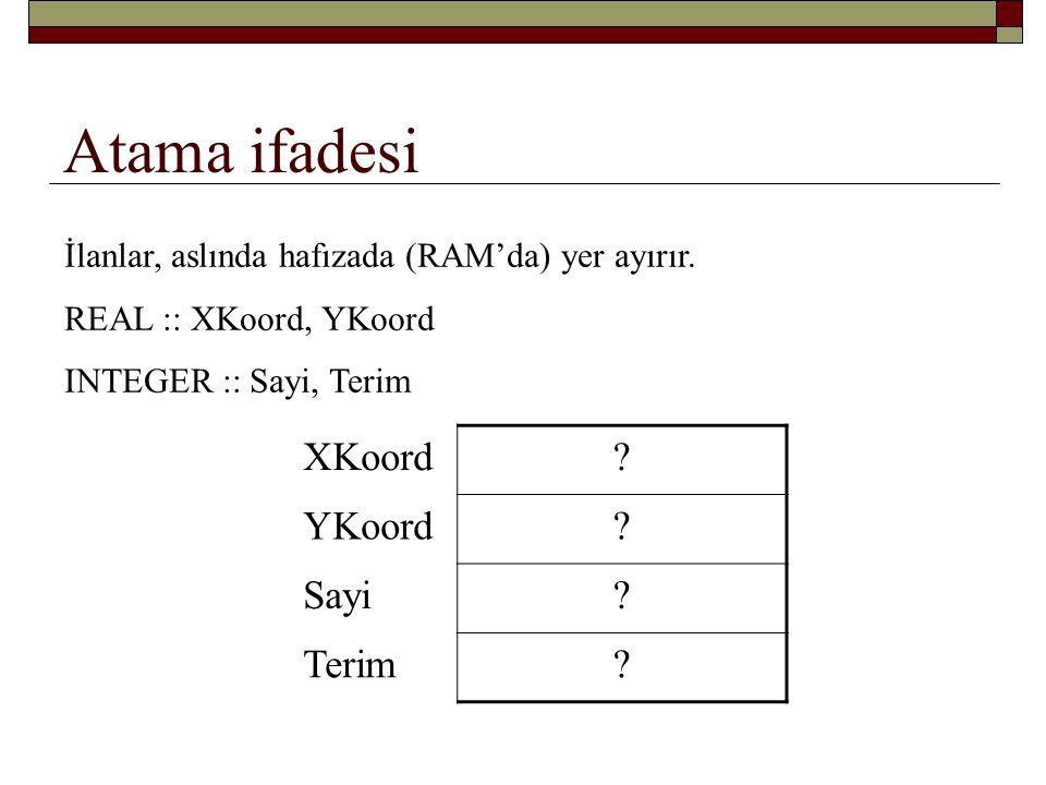 Atama ifadesi XKoord = 5.23 YKoord = SQRT(25.0) Sayi = 17 Terim = Sayi / 3 + 2 XKoord = 2.0 * XKoord XKoord.