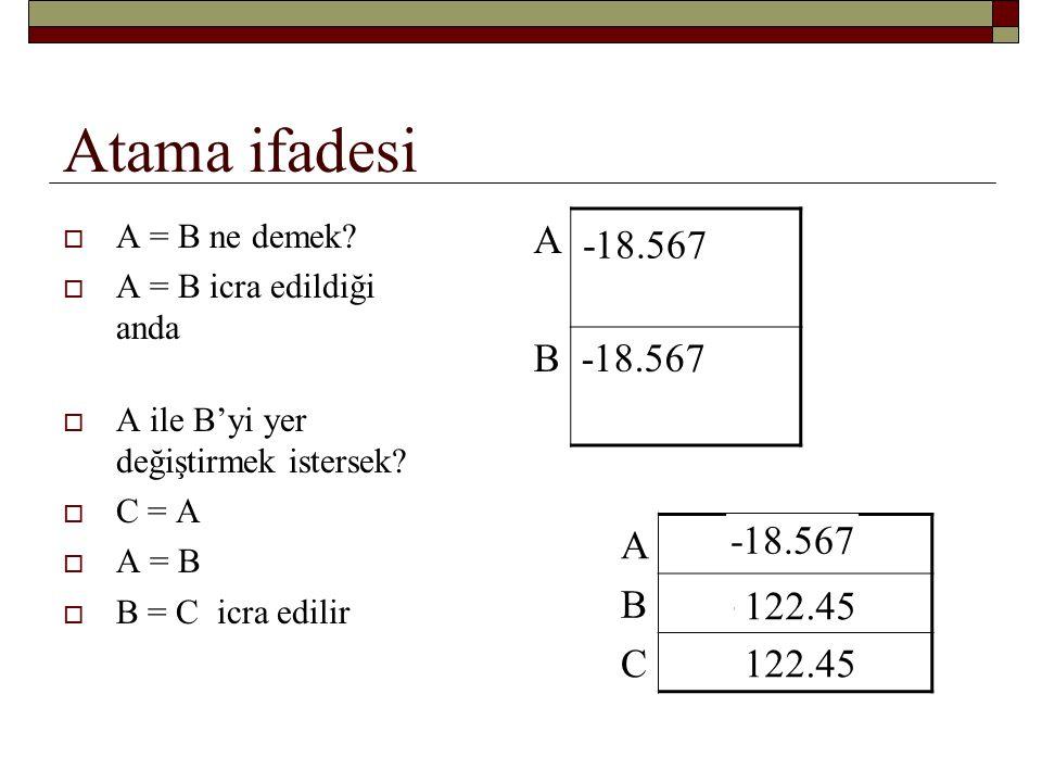 Atama ifadesi  A = A +B ne demek.Böyle bir ifade acemi programcıyı şaşırtabilir.