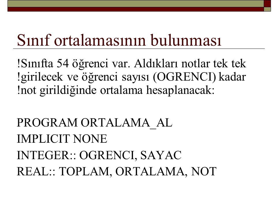 Sınıf ortalamasının bulunması TOPLAM = 0.