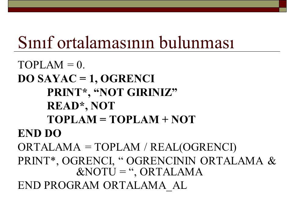 Aynı problemin bir başka çözümü TOPLAM = 0.