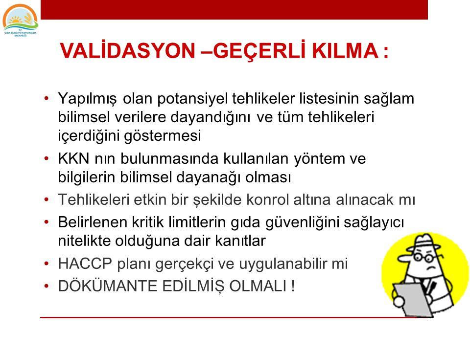 • HACCP prensiplerinin uygulanması • HACCP planının hazırlanması • HACCP planının validasyonu • HACCP planının uygulanması • Verifikasyon aktiviteleri