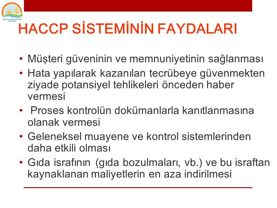 HACCP SİSTEMİNİN FAYDALARI • Tüm gıda zincirine uygulanabilir olması, • Tüketicilerin gıda güvenliği ile ilgili taleplerinin tamamının karşılanması. •