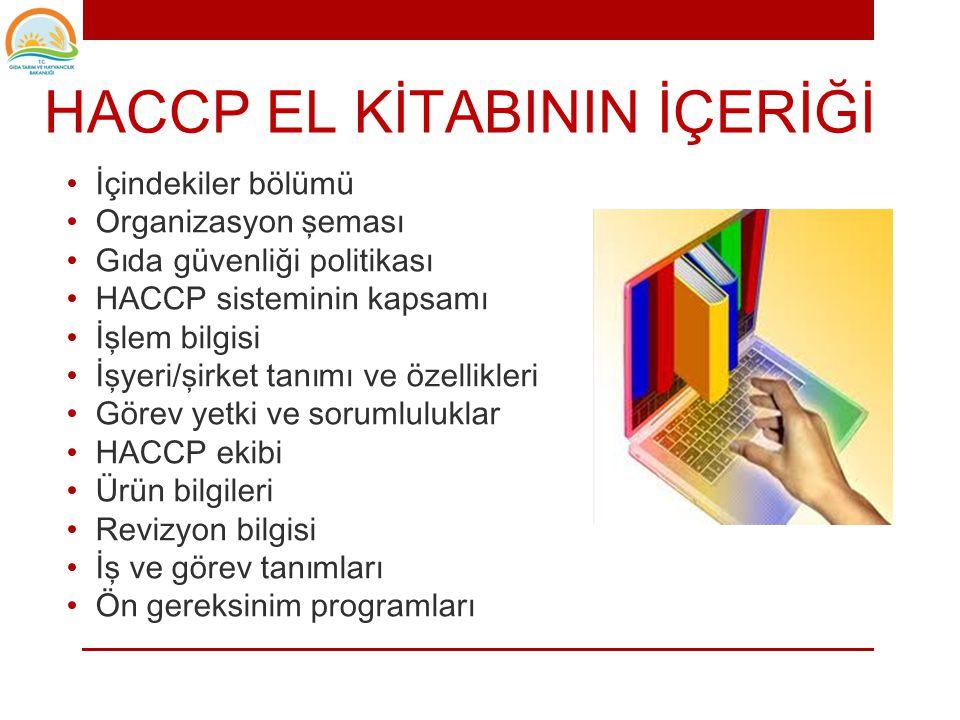 HACCP EL KİTABI • İşyeri gıda güvenliğini nasıl sağladığını anlatan bir HACCP EL KİTABI hazırlamalıdır.