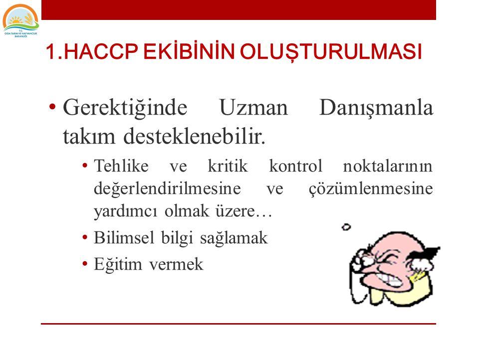 1.HACCP EKİBİNİN OLUŞTURULMASI • HACCP Ekibi kuruluş içindeki farklı disiplin ve bölümlerden oluşturulabilir. • Mühendislik, Kalite Güvence,Kalite Kon