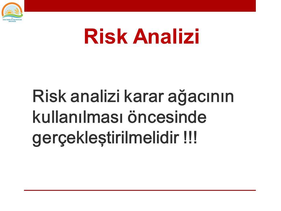 • Risk analizinde, tanımlanan tehlikeler şiddetlerine ve olasılık risklerine göre teker teker ele alınarak değerlendirilmelidir.