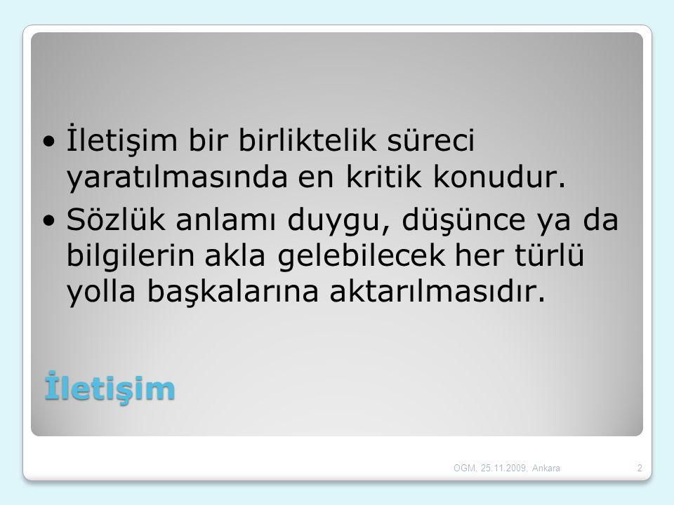 İletişim Fonksiyonları  Duygu ve coşkuları ifade etme  Emir verme  Bilgi verme- aktarma  Paylaşma dostça bir hava yaratma  Konuşanın kullandığı dilin bir ögesiyle ilgili bilgi verme iletişimi  Sanat 13OGM, 25.11.2009, Ankara