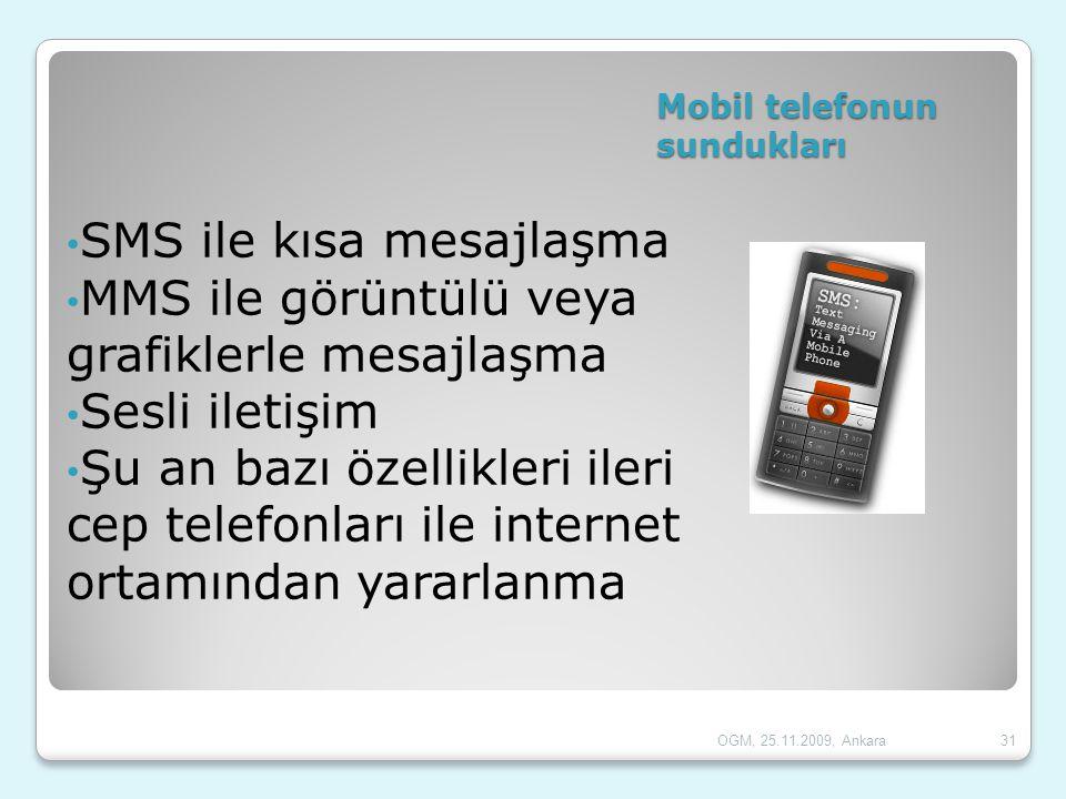 Mobil telefonun sundukları • SMS ile kısa mesajlaşma • MMS ile görüntülü veya grafiklerle mesajlaşma • Sesli iletişim • Şu an bazı özellikleri ileri c