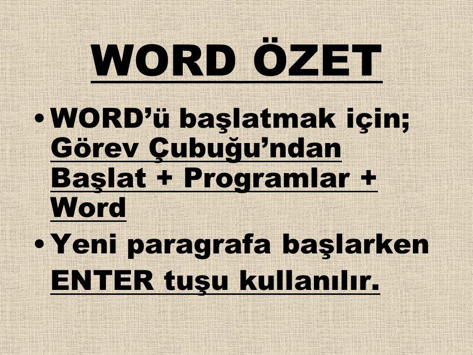 WORD ÖZET •WORD'ü başlatmak için; Görev Çubuğu'ndan Başlat + Programlar + Word •Yeni paragrafa başlarken ENTER tuşu kullanılır.